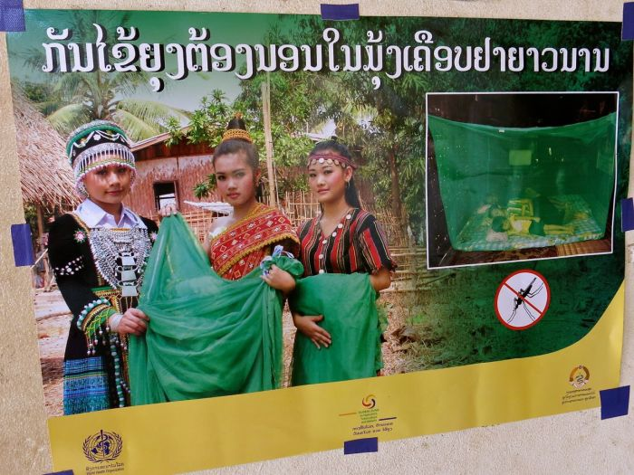 A poster in Lao PDR urging families to sleep under long-lasting insecticide treated mosquito nets. Pix/WHO